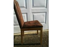 Faux Suede (Brown) Dining Room Chairs - Stylish & Rich Looking 18 months old