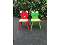 Child/Kids Frog and Mouse Wooden Chairs