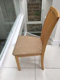 4 Skovby (Danish made) Beech Dinning Chairs, neutral fabric - Vertical slat back modern look