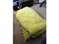 FREE Blanket (needs repairing) velvet style lime green with pom pom