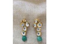 Semi precious jade and mirror stone earrings