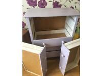 Lilac shabby chic set of drawers - needs tlc