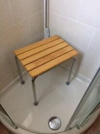Stainless steel stool with wood slatted top