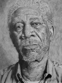 Graphite pencil drawing of Morgan Freeman.A3 size framed.