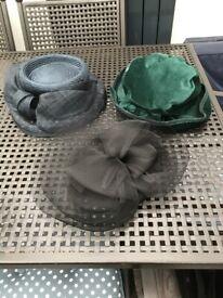 Green Velvet,Black and Navy Hats