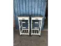 White Wood & Metal Rolling Kitchen Serving Trolley Storage Drawer Cart Vegetable