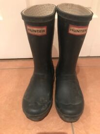 Boys Navy Hunter wellies size UK 12