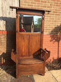 Antique/vintage hall seat/coat stand with coathooks, mirror & storage under seat