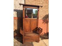 Antique/vintage hall seat/coat stand with coathooks, mirror & storage under seat