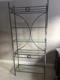 Metal freestanding shelf unit with 4 x glass shelves