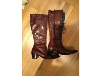 Brown Leather Knee High Boots - Size 5