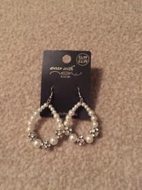 Diamonte and pearl drop earrings