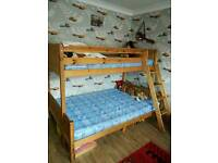 Solid pine wood triple bunk bed