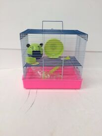 Penthouse 2 Storey Hamster Cage Pink Blue and Lime rrp £24.99