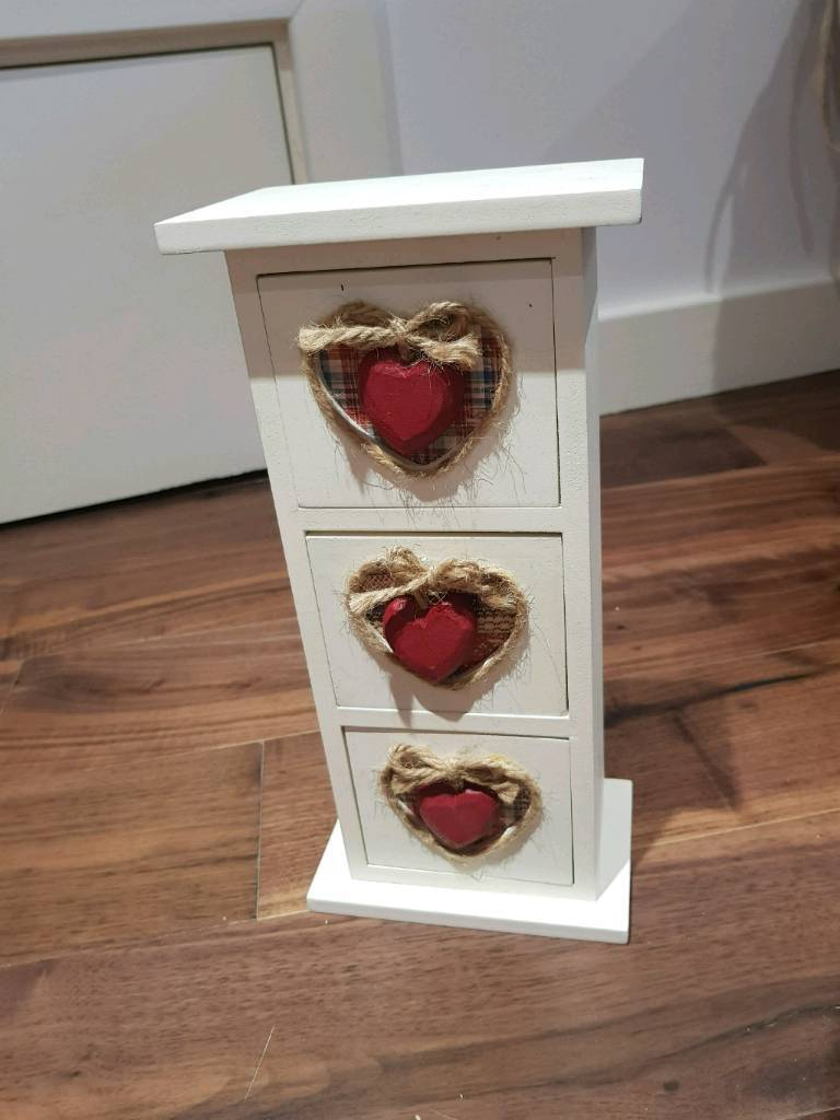 Small wooden heart drawers