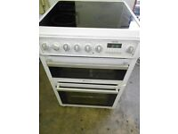 hotpoint 59cm electric cooker seperate grill oven .ceramic top hob . .in nice condition