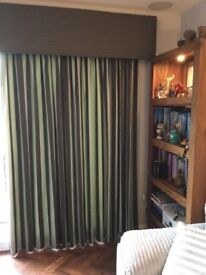 Fully lined curtains with contrasting pelmet material and 6 cushion covers