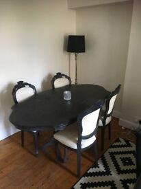 Black & Cream dinning table and chairs