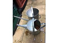 2x galvanised water cans for the garden suitable s pots