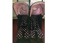 Black&pink polka dot double pram