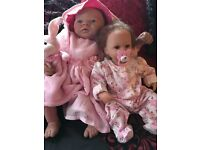2 Reborn dolls moses basket and clothes