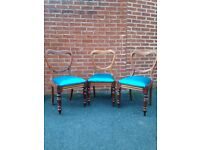 3 Antique Walnut Balloon back chairs