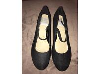 Brand new with labels. Black sparkle ladies heel wide fit EEE size 8