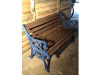 Heavy Cast iron bench with weathered nautical paint effect