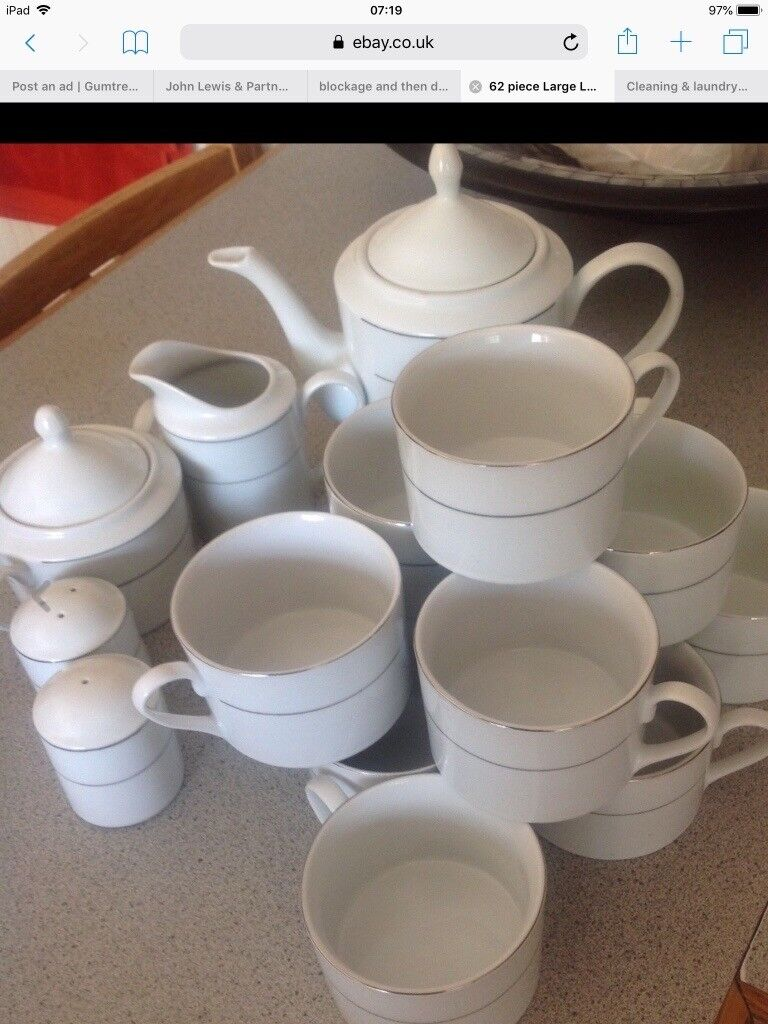 62 Piece White Porcelain Dinnerware Set In Oadby Leicestershire