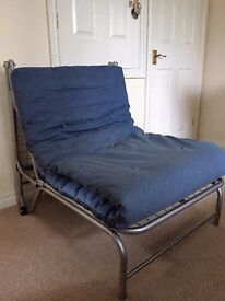 Fold out Futon. Chair to bed frame. Will fit under High Sleeper.