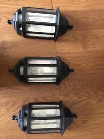 3 half lantern Exterior security lights