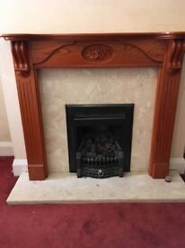 Brick effect gas fire plus all surround