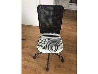 Black office desk and desk chair, very good condition
