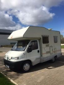 Left Hand Drive Fiat Ducato Compact 4 Birth Motor-home, Full MOT, Excellent Condition