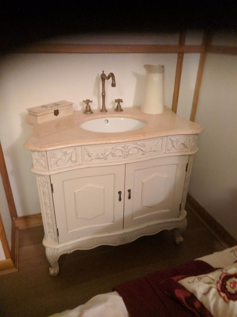 French style bathroom vanity units - French Style Distressed Vanity Unit
