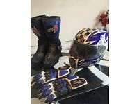 RST Motorcycle Leathers 2 piece , includes helmet Boots And Gloves Overall Great Condition.