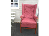 Wing back chair covered new fabric by hand