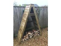 Quality handmade tanalised firewood storage shed
