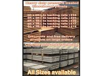 Heavy duty pressure treated closeboard panels and concrete posts
