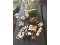 Job lot of mostly unused nail polishes, battery dryers, nail wraps.