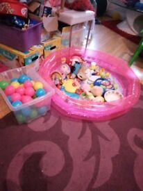 Blue bouncer and pink ball pit with balls!!!