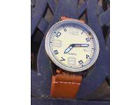 Gold/bronze effect quartz watch with tan strap