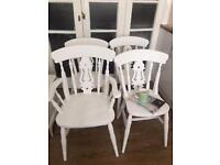 SOLID WOOD SHABBY CHIC CHAIRS FREE DELIVERY SETx 4🇬🇧no table