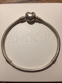 Genuine Pandora Bracelet with Safety Chain