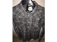 3/4 Roll Up Sleeved Button Through Shirt GREY - L