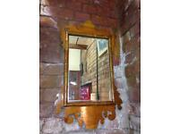 VINTAGE RUSTIC SHABBY FARMHOUSE CHIC ORNATE FRETTED WOODEN FRAMED MIRROR