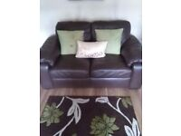 2 x 2 seater chocolate leather sofas for sale