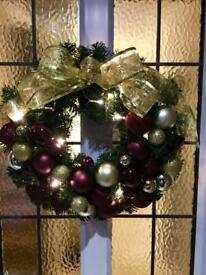Large handmade Christmas light up wreath