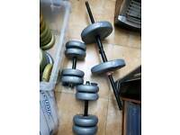 Weight plates with dumbbells 60kg approximately