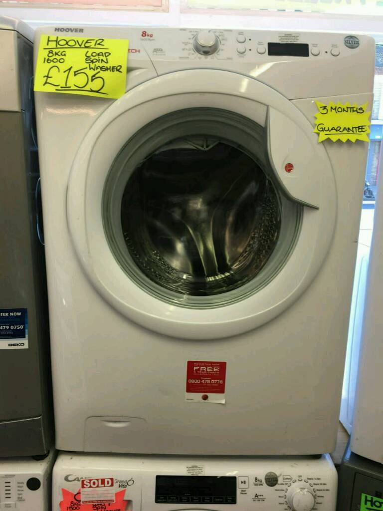 HOOVER 8KG 1600SPIN WASHING MACHINE IN WHITE